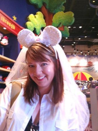 Mikalee as a bride in Disneyland
